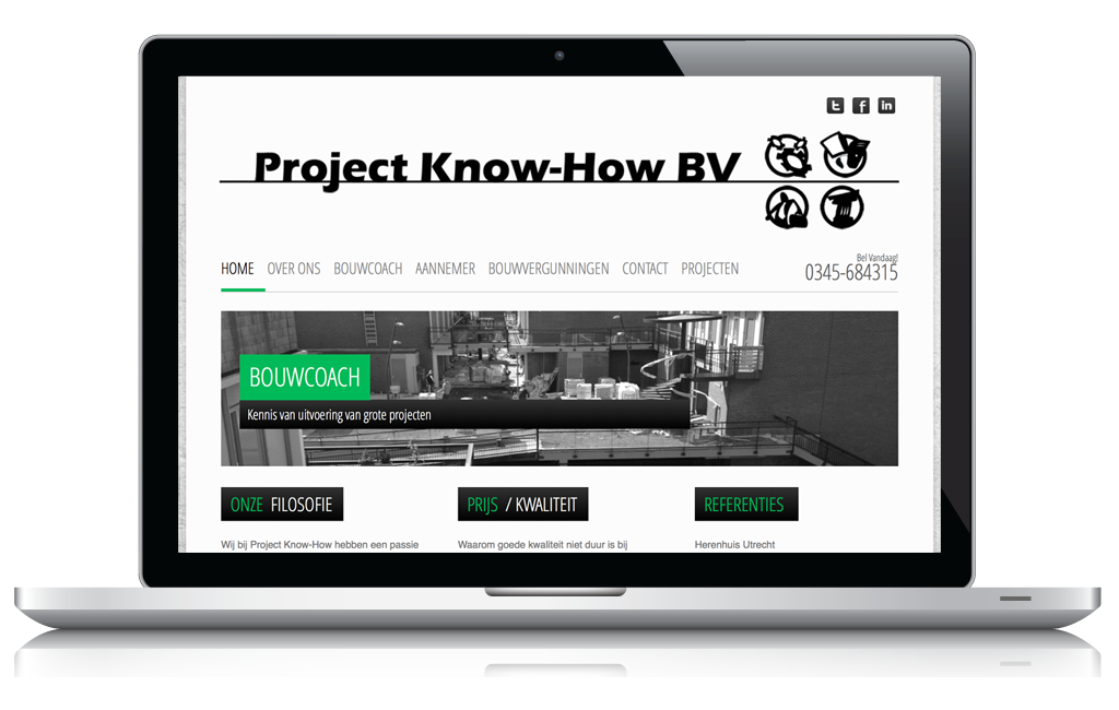 Foto van laptop waarop de website wordt getoond van Project Know-How